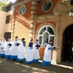 The choir head to the chapel